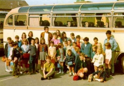 1969 - 70 Students beside a typical bus