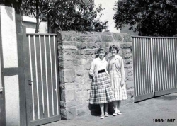 1955 - 57 Two Girls by Wall 2