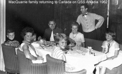 QSS Arcadia 1962 MacQuarrie Family returning to Canada
