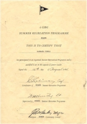 1965 - Summer Recreation Certificate