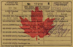 1970 BFG (CDN) Motor Vehicle Registration Document