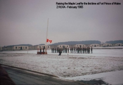 1965 February Raising the Maple Leaf for the First Time at Fort Prince of Wales 2 RCHA
