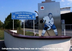 Fort Prince of Wales Deilinghofen Hockey Team Statue near old arena