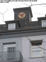2004 March Clock in the building at the right of the main entrance Fort Qu'Appelle