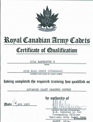 1967 August, Certificate of Qualification, RCAC