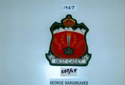 1967, Best Cadet Badge for George Hargreaves