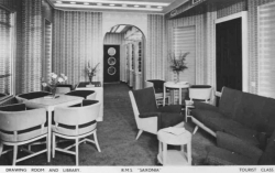 RMS Saxonia - Tourist Class - Drawing Room and Library