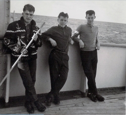 1962 March aboard the Saxonia L to R, Roger Denomme, ? , Harry Proctor