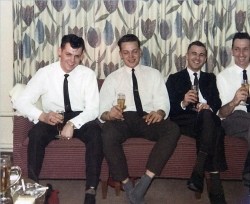 1963 The Christie home Ahornallee Werl PMQ's during Christmas L to R ,Harry Proctor, Bill McCraight, George Christie, Les Lowther.jpg