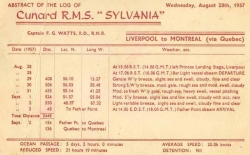 RMS Sylvania - Abstract of the Log August 28 1957